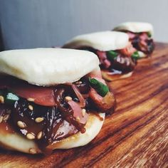 Steamed Buns with Honey Sriracha Brussels Sprouts + Crispy Pork Belly