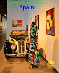Fashion museum (museo automovil) in Malaga, Spain with vintage collection of dresses, hats and luggage by designers Balmain, Ungaro,Louis Vuitton and Chanel