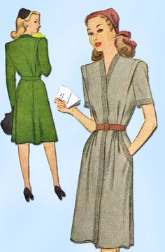 """McCall Pattern 5727 Misses' Dress Pattern Stylish WWII Design Dated 1944 Complete Nice Condition 13 of 13 Pieces Counted. Verified. Guaranteed. Nice Condition Overall Size 20 (38"""" Bust)"""
