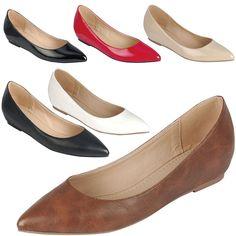 Pointy Toe Kitten Low Hidden Wedge Heel Pump Ballet Flat Ballerina Slide Shoe US #Forever #PlatformsWedges #Casual