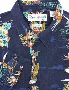 Robert Stock Hawaiian L Dry Cleaned 100% Cotton Blue Mens Short Sleeve Shirt #RobertStock #ButtonFront