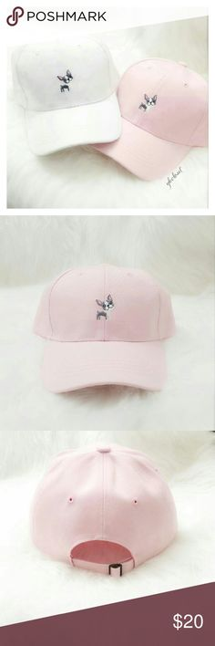"ADORABLE PINK BASEBALL CAP Adorable dog detailing gives a fun twist to a plain pink cap.  -Adjustable strap (pic3)  *** for WHITE version, please go to my closet for the separate listing  🚫TRADES 📷ADDITIONAL PICS FOR SERIOUS BUYERS ONLY 💸ALL OFFERS TAKEN THROUGH ""OFFER BUTTON"" Accessories Hats"