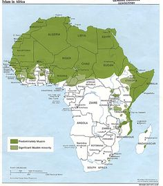 Islam in Africa.  Note, Islam, compared to Christianity, is a recent religion in Africa.  Also note, that the parts of Africa distant from west Asia have a smaller Islamic population.  Islam was introduced to Africans by Arabs.  Islam is not the dominant religion in sub-Sahara Africa.