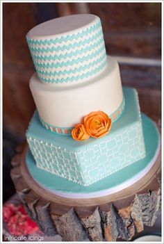 Orange and Turquoise Wedding Decorations | cake blue turquoise orange chevron lines patterns simple elegant baby ...