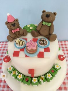 Teddy Bears Pic Nic Party Birthday Personalised Edible Cake Topper Set