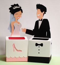 Happy couple wedding boxes made by Kristen are adorable and match the wedding cake!  The boxes are from CHARLOTTES FAVOR BOXES SVG KIT.  There are 11 boxes total in this kit!