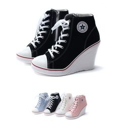 Womens High Heel 10cm Canvas Wedge Sneakers Casual Hi-Top Shoes Boots Korea kpop #UnbrandedKoreaLocalbrand #LaceUps