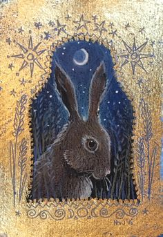 Hare icon. Pencil, acrylic and 22ct gold. Hannah Willow. Www.hannahwillow.com www.facebook.com/Hannah.willow.artist