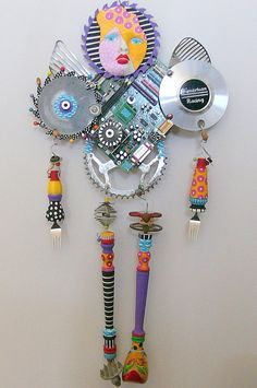 I Am A Warrior recycled found object sculpture mixed media via Etsy.