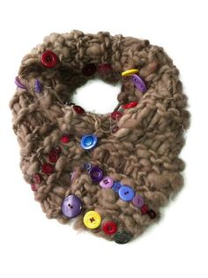 Hand Knitted brown scarf with colourful buttons by Tania Bishop Artisan