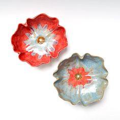 Red Poppy Bowl ceramic bowl handmade pottery with Ice Blue hand built sculpture wedding decor. $29.00, via Etsy.