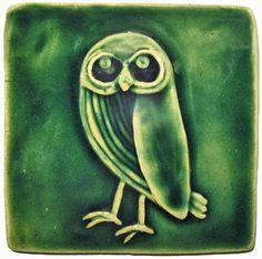 """Owl 4""""x4"""" Ceramic Handmade Tile"""