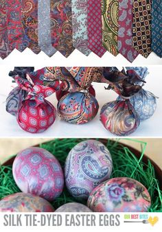 Easter eggs dyed with silk ties