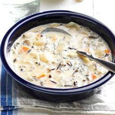 Wild Rice Soup, from Taste of Home. Really wonderful, creamy soup. Loved it. I added 1 lb. cooked, shredded chicken and 1/4 tsp. white pepper. Could use an extra dash of salt, and I suspect the butter could be halved and still taste as good.