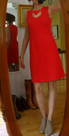 dressing over 50-maybe stockings should match the booties.  Love this dress from Land's End