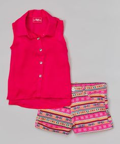 Look at this Fuchsia Chiffon Sleeveless Button-Up & Tribal Shorts - Girls on #zulily today!