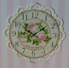 DOLLHOUSE MINIATURE   Shabby Rose Wall Clock  by BakinginMiniature, $15.00