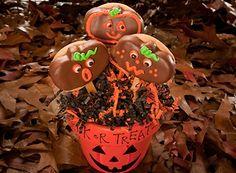 Peanut Butter Pumpkin Lollipop Cookies #hershey #halloween