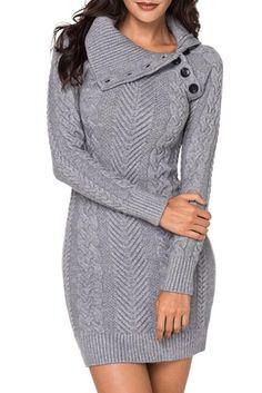 60023988846 Asymmetric Buttoned Collar Grey Bodycon Sweater Dress