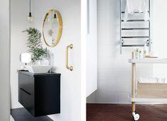 Amp Lamp and Block table used in beautiful bathroom settings | by Varpunen