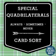 Special Quadrilaterals Card Sort