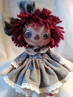 Handmade Primitive Raggedy Ann Doll Green Daisy Printed Cotton Homespun Dress #NaivePrimitive