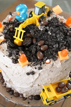 DIY Construction Theme Birthday Cake for Heavy Equipment-Obsessed Little Boys.