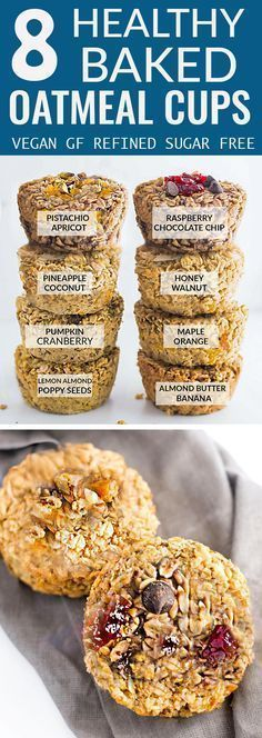 8 Healthy Baked Oatmeal Cups ~ an easy and healthy make-ahead breakfast to enjoy throughout the week.simple to customize, refined sugar-free, gluten-free, and vegan! Breakfast Cups, Breakfast Cookies, Breakfast Recipes, Breakfast Ideas, Vegan Breakfast Muffins, Gluten Free Breakfast Bar Recipe, Gluten Free Breakfast Casserole, Sugar Free Breakfast, Clean Breakfast