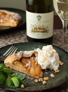 The wine pairs perfectly with the flavors in the dessert, it should! Moscato d'Asti and Moscato Poached Pear Pie