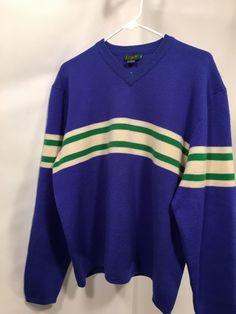 J Crew XL Sweater Blue V-Neck 100% Wool Men's w/ Green Cream Strip #JCrew #VNeck