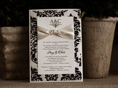 Invitation SP3: White Gold, Cream Smooth, Allura, High Tower, Antique Ribbon