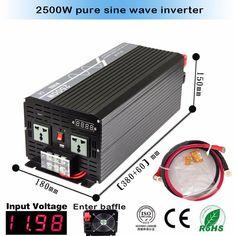 Factory Sale ! DC12V 24V 12V to AC 100V~120V/220V~240V Pure Sine Wave Power Inverter 2500W Peak 5000W #Affiliate