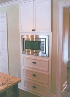 Home Improvement Where to Put That Microwave - Tips and Kitchen Design Ideas - Microwave Drawer and Corner Microwave, Microwave In Pantry, Built In Microwave Cabinet, Microwave Drawer, Built In Ovens, Built In Cabinets, Corner Cabinets, Kitchen Pantry Cabinets, Kitchen Storage