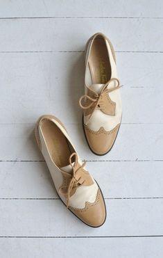 10dd1f79729c Vintage Salvatore Ferragamo two-tone wingtip oxfords with soft rubber sole… Women  Shoes Flats