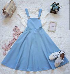 Vestido con tirantes# azul# rotonda