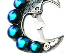 Moon Face Pendant Sterling Man In The Blue Moon Necklace Pendant Vintage Jewelry 925 Silver And Blue by JewelryQuest