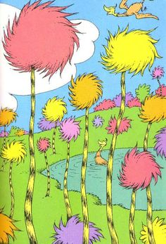 truffula trees and swomee swans. if I ever wanted something colorful this might be it. Love the meaning behind the story of the Lorax, has always been my favorite dr. Dr. Seuss, Dr Seuss Art, Dr Seuss Nursery, Dr Seuss Crafts, Dr Seuss Mural, Dr Seuss Trees, Lorax Trees, Truffala Trees, The Lorax
