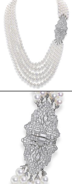 A cultured pearl and diamond necklace  The five graduated rows of 6.5-10.0mm cultured pearls to a lozenge-shaped clasp of pierced symmetrical design set with brilliant, marquise, square and baguette-cut diamonds, diamonds approximately 11.50 carats total, length 56.1cm