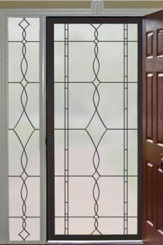 Add privacy and an upscale new look to glass doors, side lights, windows, shower doors and more with the Allure Leaded Glass window film design. Window Privacy, Privacy Glass, Stained Glass Door, Leaded Glass, Sidelight Windows, Leadlight Windows, Front Windows, Window Films, Glass Front Door