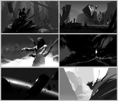 , Sung Choi : Composition sketches with simple graphic shapes. This is the stage where I just paint what I had in my mind, without using any tools or tricks. Environment Sketch, Environment Design, Landscape Sketch, Landscape Concept, Storyboard, Layout, Bg Design, Composition Design, Animation Background