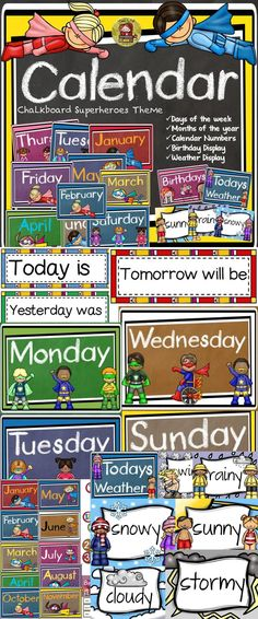 Keep track of days, months, birthdays, and the weather with this handy Superheroes Chalkboard theme Calendar Resource. https://www.teacherspayteachers.com/Product/BACK-TO-SCHOOL-CLASS-DECOR-CALENDAR-BIRTHDAY-WEATHER-1917968