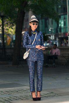 LEAF GREENER  Senior Fashion Editor, ELLE China  http://leafgreener.tumblr.com    Outfit 1:  -Swash London Hat  -Ralph Lauren Sunglasses  -Rochas Plaid Suit/Pants  -Tom Binns Necklace  -Reece Hudson Bag  -Aperlai Shoes  -Jogema Ring