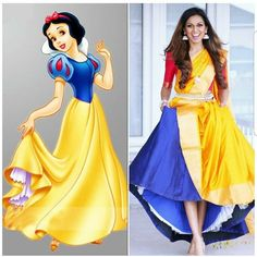 Disney Princess Snow White saree style   www.tiabhuva.com  Instagram @tiabhuva Youtube.com/tiabhuva