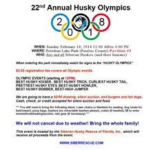 Siberian Husky Olympics: Freedom Lake Park, 9990 46th St N, Pinellas Park, Florida 33782 United States.