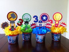 Super Hero 4 Piece Centerpiece Toppers by Getcreativewithkay Avengers Birthday, Batman Birthday, Superhero Birthday Party, Third Birthday, 4th Birthday Parties, Birthday Kids, Superhero Centerpiece, Hulk Party, Party Centerpieces