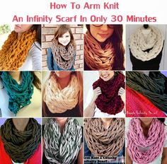 Will have to try this!  How To Arm Knit An Infinity Scarf In Only 30 Minutes