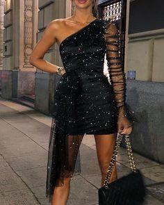 Glitter One Shoulder Sheer Mesh Dress Women Sexy Mini Dress Black Nightclub Party dress Female Cheap Homecoming Dresses, Party Dresses For Women, Baby Girl Dresses, Homecoming Outfits, Dresses Elegant, Sexy Dresses, Sleeve Dresses, Chiffon Dresses, Fashion Dresses