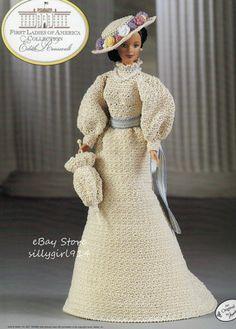 """ROOSEVELT""~Crochet PATTERN fits BARBIE FASHION DOLL~Annie's FIRST LADIES"