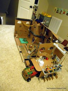 learning table: TMNT sewer lair out of cardboard