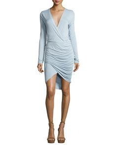 Lex Jersey Surplice Ruched Dress, Light Blue by Young Fabulous and Broke at Neiman Marcus.